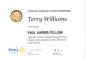 Terry Williams Rotary Paul Harris Fellowship Award 2015
