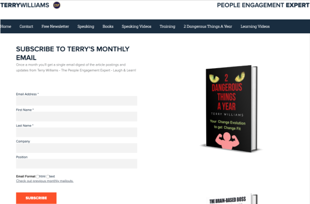 subscribe signup to terrys monthly free email newsletter